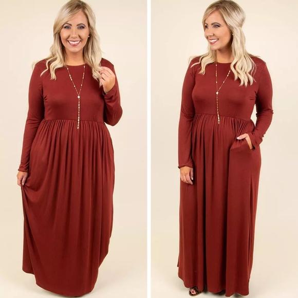 Plus Size Fall Long Sleeve Maxi Dress Boutique